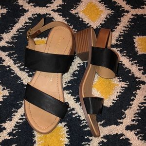Black & Brown Heel Sandal
